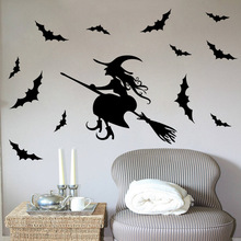 Festival Witch Wall Sticker Halloween Home Decor DIY Removable Vinyl Children's Room Background Wall Sticker Happy Halloween G halloween home decoration witch house castle removable wall sticker for decor