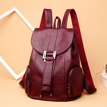 Women Backpack School Bags For Teenager Girls pu string Multi-pocket Design Femme Mochila Female Backpack Fashion Sac A Dos