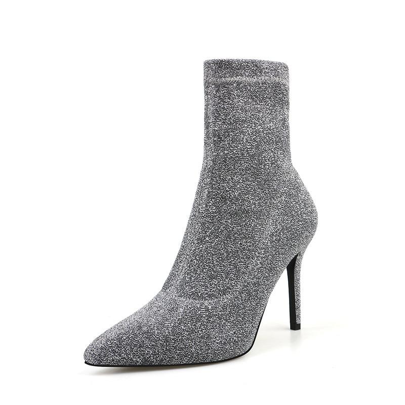 European/American Autumn and Winter New Style Pointed Toe Stiletto Short Boots Women Nightclub High Heel Short Boots Women Boots
