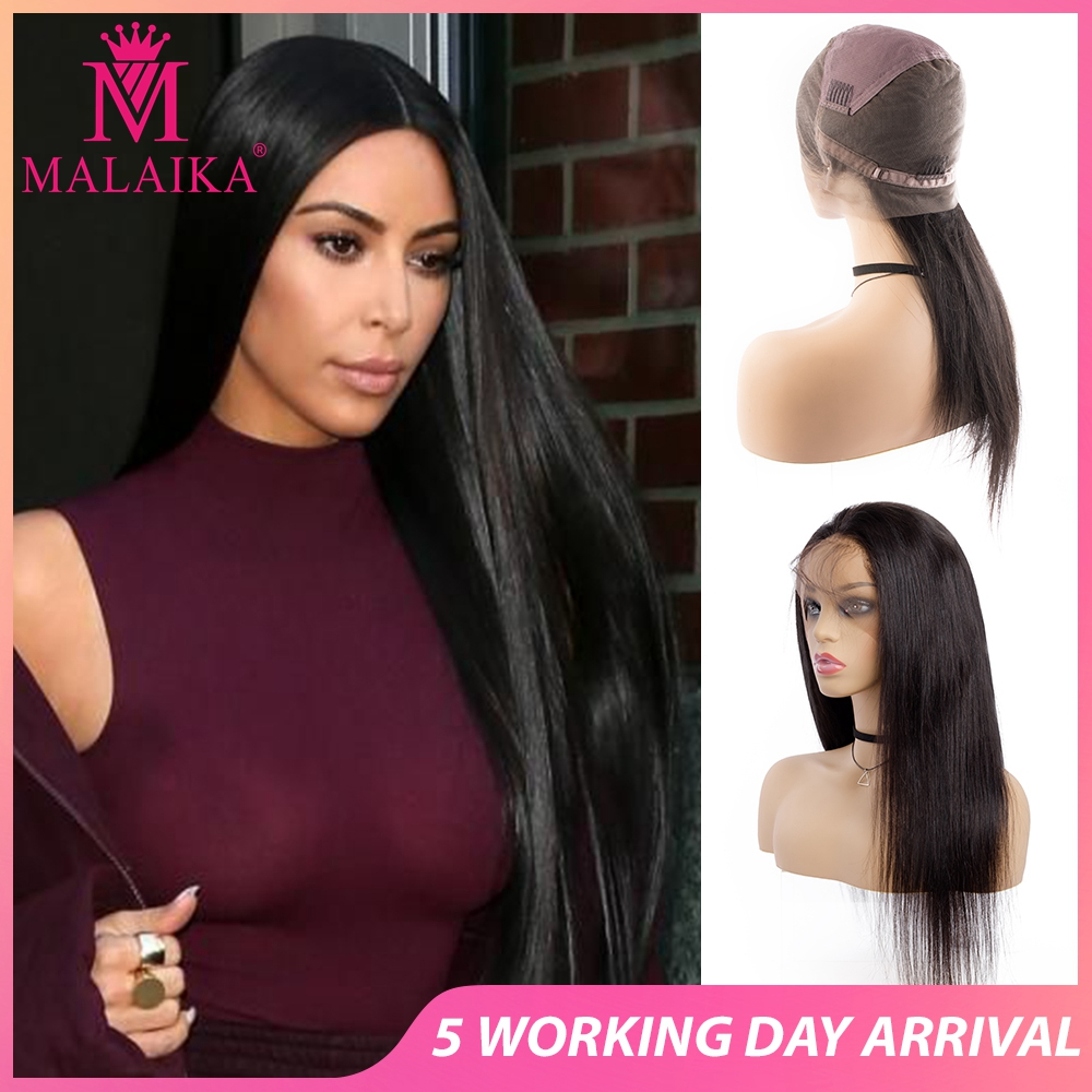 MALAIKA Glueless Full Lace Wigs For Women Pre Plucked Full Lace Human Hair Wigs With Baby Hair Brazilian Straight Wig Christmas