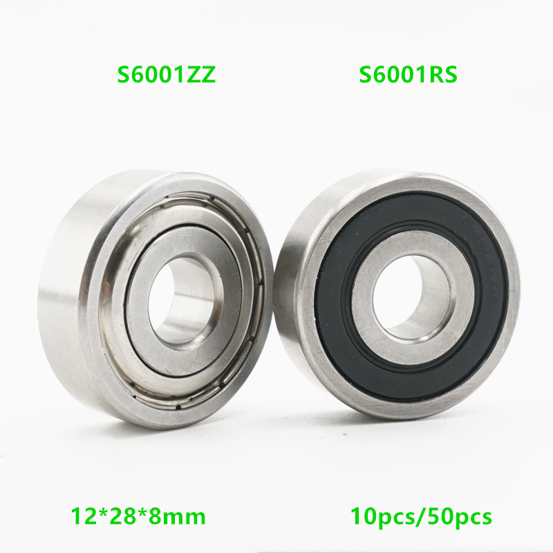 10/50pcs High-quality 6001ZZ 6001-2RS S6001ZZ S6001-2RS 12*28*8 Stainless Steel Deep Groove Ball Bearing 6001 12x28x8mm