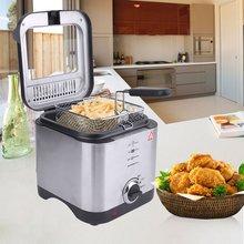 1.5L электрическая фритюрница с антипригарным покрытием 900 Вт фритюрница из нержавеющей стали кухонная посуда бездымного глубокая сковорода для жарки