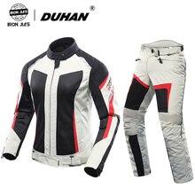 DUHAN damska kurtka motocyklowa + spodnie motocyklowe letnia oddychająca kombinezon motocyklowy biała kurtka wyścigowa Moto odzież ochronna