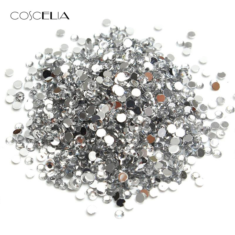 1000/2000PCS Nail Art Decorations Nail Rhinestones Velvet Nail Jewelry Diamond Rhinestones For Nail Silver Color