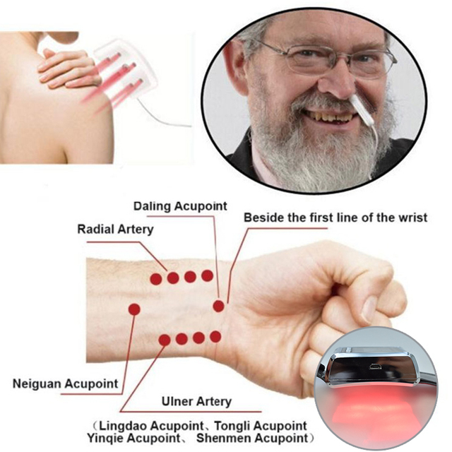 Diodo de fisioterapia para uso doméstico, diodo com laser medidor de pulso para tratamento de hipertensão, diabetes, para uso doméstico LLLT 650nm 3