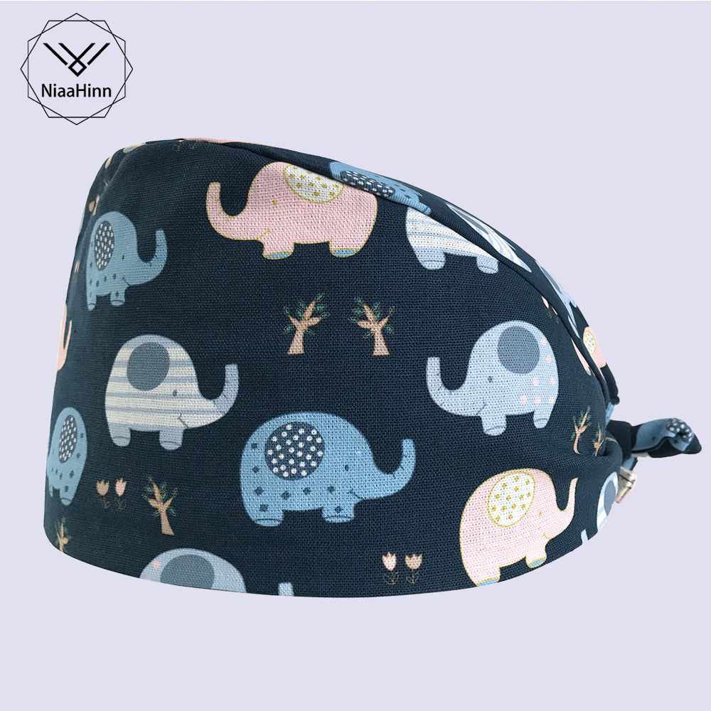 New Surgical Scrub Caps Medical Beauty Salon Pet Doctor Printed Caps Adjustable Cotton Surgeon Hats Dentistry Doctor Scrub Caps