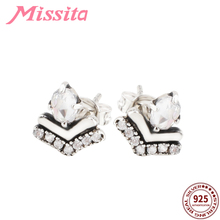 MISSITA 925 Sterling Silver Classic Crystal Heart Wish Stud Earrings for Women Zircon Color Fashion Jewelry Dropshipping