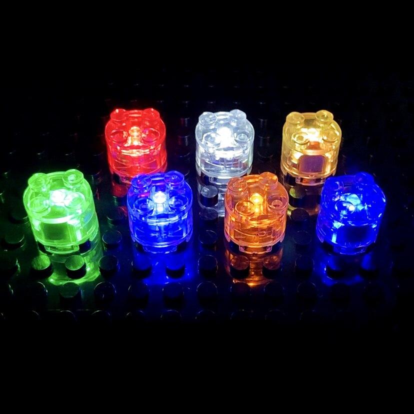 Luz LED de Punto 2x2 para niños, accesorios coloridos, Educativos de bloques clásicos, emisor de luz, Compatible con lego, bloques de construcción, 5 uds.