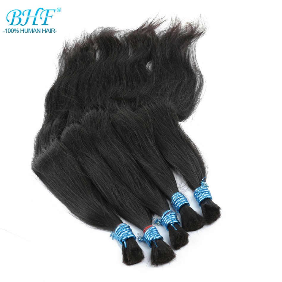 Bhf 100% Human Vlechten Haar Bulk Machine Gemaakt Remy Rechte Geen Inslag Bundels Natuurlijke Vlechten Hair Extensions