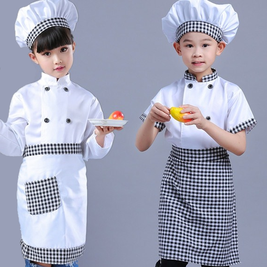 Kid Costume For Chef Uniform Jacket Children Cosplay Kitchen Restaurant Clothing Kindergarten Performance Boys Girls Clothes Set