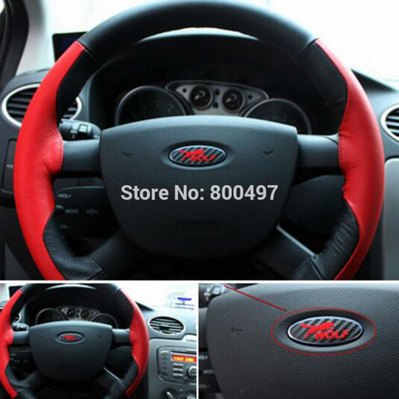New Car Styling 3D Carbon Fiber Vinyl Steering Wheel Sticker Wolf Logo Decorative Decal For Ford Focus MK1 MK2 MK3 MK4