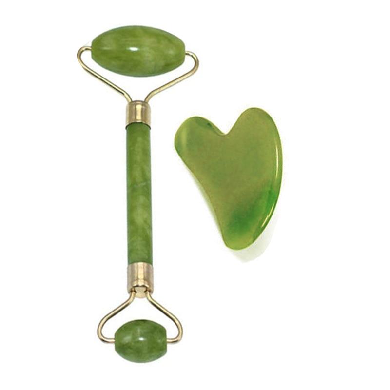 Jade roller thin face beauty tool jade roller facial massager relax weight loss double head green suit jade massage push