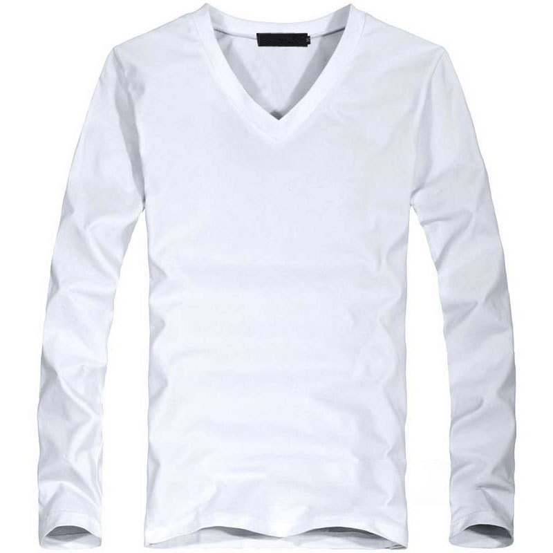 Elastic Mens T-Shirt V-Neck Long Sleeve Men T Shirt For Male Lycra And Cotton T-Shirts Man Clothing TShirt 4