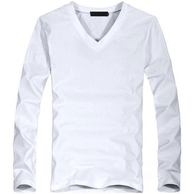 Elastic Mens T-Shirt V-Neck Long Sleeve Men T Shirt For Male Lycra And Cotton T-Shirts Man Clothing TShirt 30