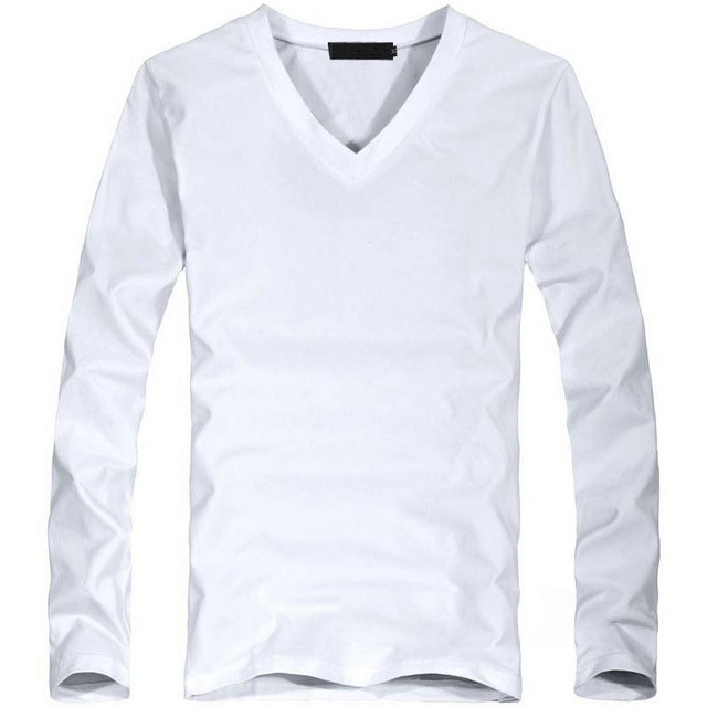 Elastic Mens T-Shirt V-Neck Long Sleeve Lycra And Cotton