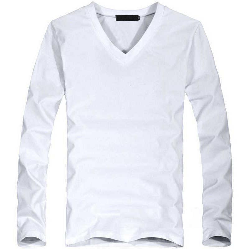 2019 弾性メンズ Tシャツ V ネック長袖のメンズ Tシャツ男性ビッグサイズライクラとコットン Tシャツビジネスマン tシャツ