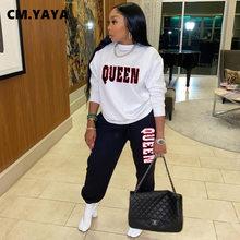 CM.YAYA jesienno-zimowa odzież sportowa list damski zestaw bluza spodnie do biegania pasujący zestaw dres Fitness dwa 2 częściowy zestaw strój