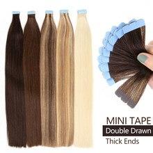Mrshair extrémités épaisses Mini bande dans les Extensions de cheveux 100% Extension de cheveux humains Double dessiné 3x0.8cm peau trame 20 pièces 36g 18
