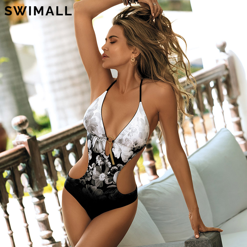 2020 Print One Piece Swimsuit Women Swimwear Deep V Monokini Bodysuit Backless Bathing Suit Beach Wear High Cut Swim Suit|Body Suits|   - AliExpress