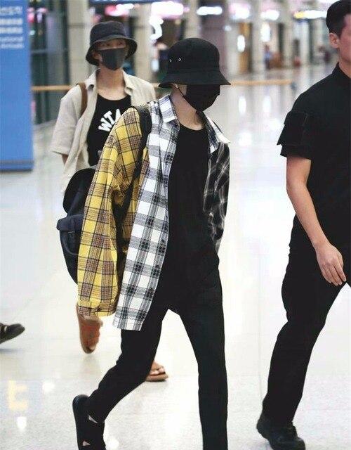 kpop jin suga same Korean spell color plaid shirt Sweatshirts k-pop Bangtan boys spring autumn harajuku yellow hoodie women coat 1