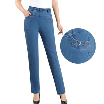 Middle-aged women jeans spring autumn high waist Slim straight denim pants female embroidery pocket plus size jeans L-5XL r346 Straight Jeans