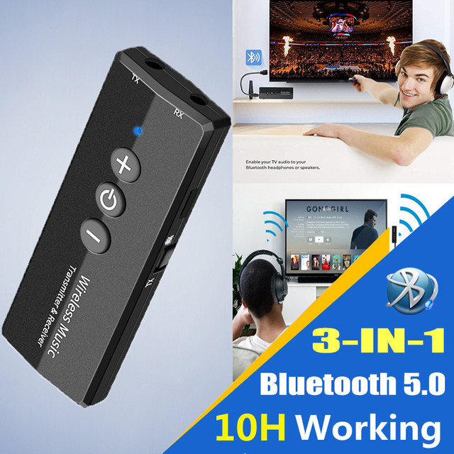 Bluetooth 5.0 Transmitter Receiver 3.5 3.5mm Aux Jack Stereo Music Audio Wireless Adapter for TV PC Car Kit with Control Button