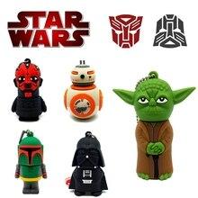Cartoon Darth Vader Yoda Usb Flash Drive 128gb Star Wars Series USB 2.0 Pen 16GB 32GB 64GB Pendrive 8GB Fashion Gift Stick