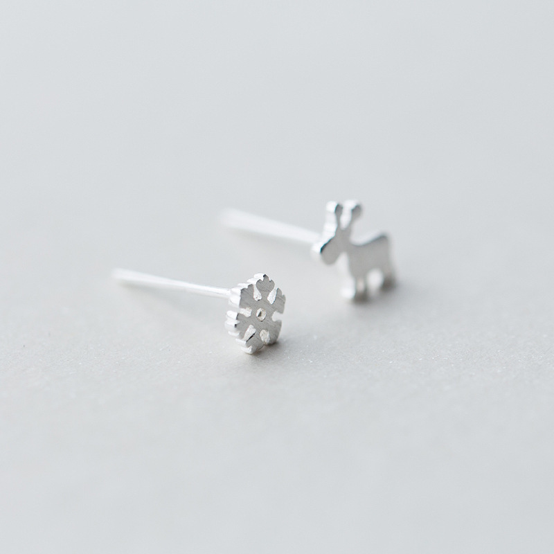 Christmas-Earrings Asymmetric 925-Silver Fashion Elk Ear-Nails Snow-Deer Female Factory-Direct-Selling
