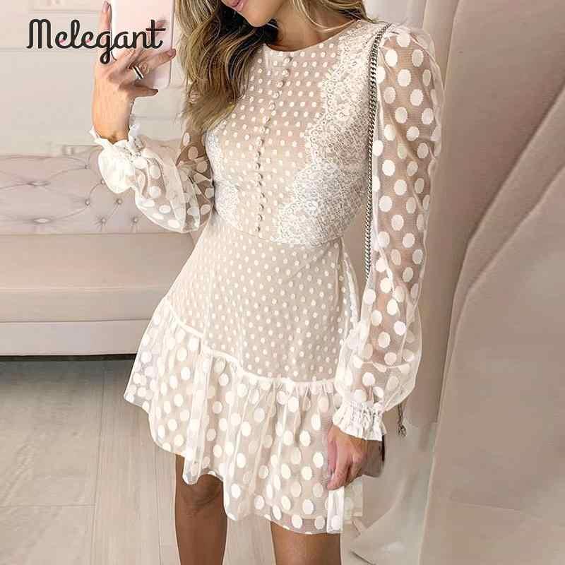Элегантные сексуальные зимние сетчатые кружевные платья женские вечерние платья с вышивкой Женские винтажные короткие платья в горошек большие размеры Платья Vestidos