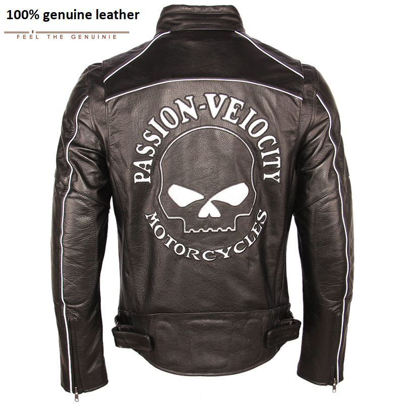 Vintage Distressed Leather Jacket Men Skull Motorcycle Jacket Thick 100% Calf Skin Moto Jacket Biker Coat Winter M189