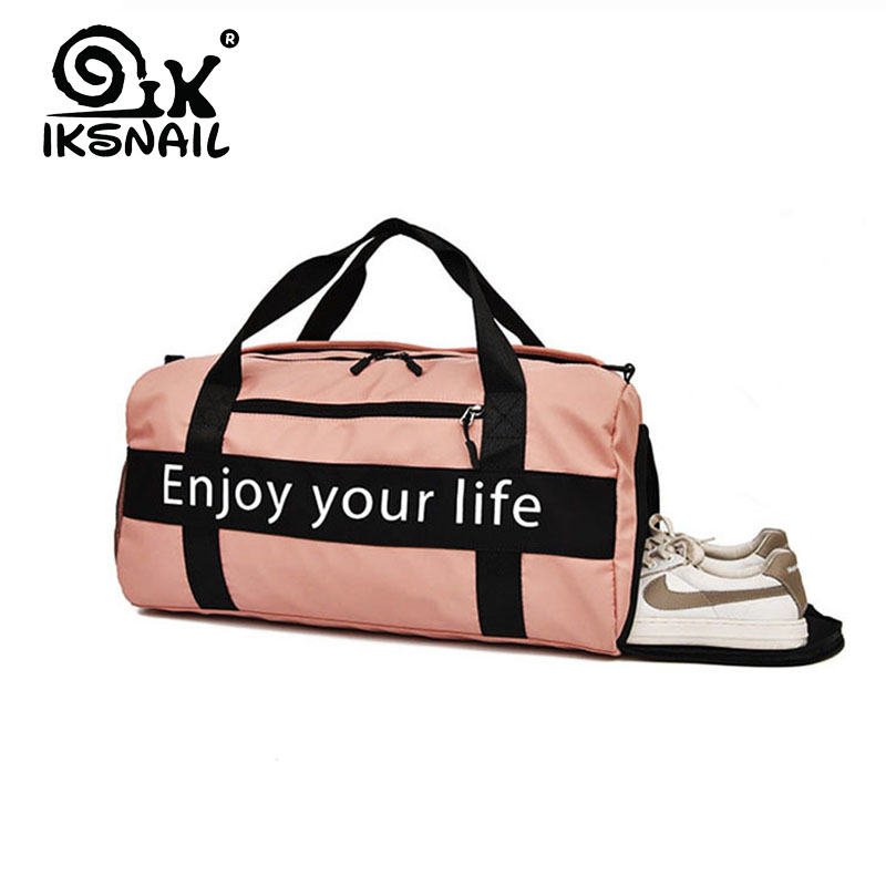 IKSNAIL Women Pink Sports Bag Men Nylon Waterproof Gym Bag Independent Shoe Position Luggage Storage Handbag Outdoor Travel Bags