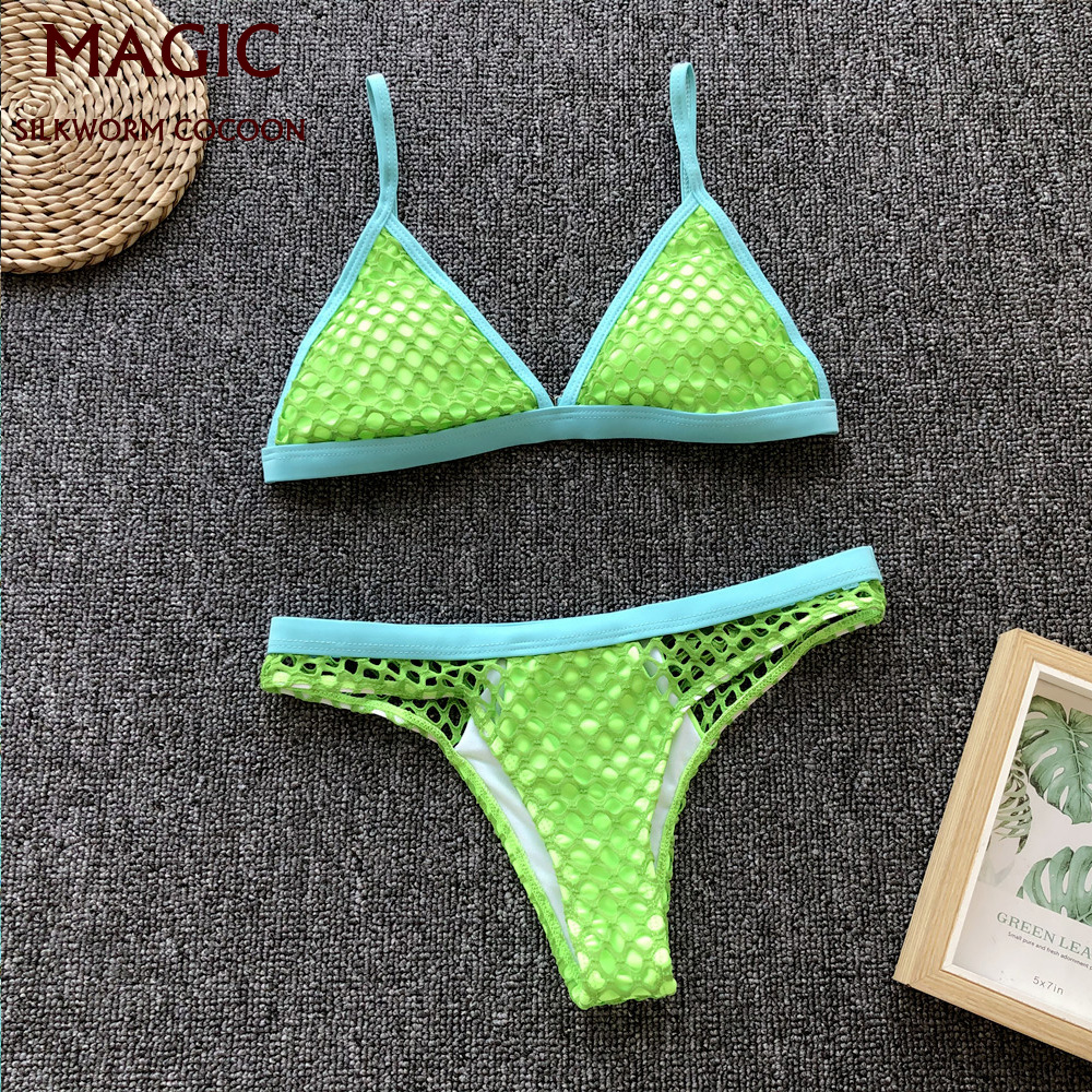 Beach Clothes New Fluorescent Green Mesh Grid Brazilian Bikini Set Sexy Two-pieces Swimsuit Swimwear Women Female Bathing Suit