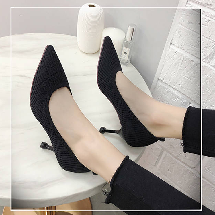 Women High Heels Knitting Autumn Sexy Shallow Mouth Pointed Toe Closed Toe Comfort Slip-On Office Pumps Stiletto Shoes 61