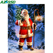 AZQSD 5D Diamond Painting Santa Christmas Embroidery Cartoon Full Suqare Picture Of Rhinestones Home Decoration Needlework