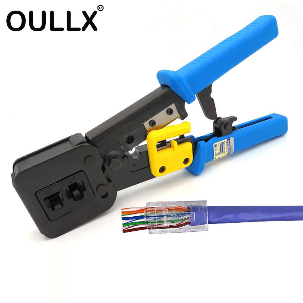 OULLX RJ45 Crimper Hand Network Tools Pliers RJ12 cat5 cat6 8p8c Cable Stripper Pressing Clamp Tongs Clip Multi Function