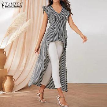 Plus Size Tunic Women's Summer Striped Blouse ZANZEA 2020 Elegant Asymmetrical Shirts Sleeveless Ruffle Blusas Female V neck Top