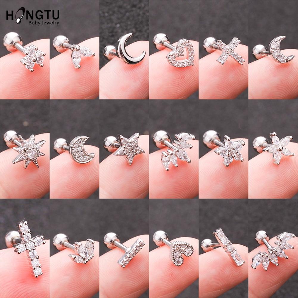 HONGTU 1PC Copper Flower Heart Moon Zircon Tragus Ear Piercing Surgical Steel Shaft Bar Daith Earrings Helix Cartilage Studs 16g