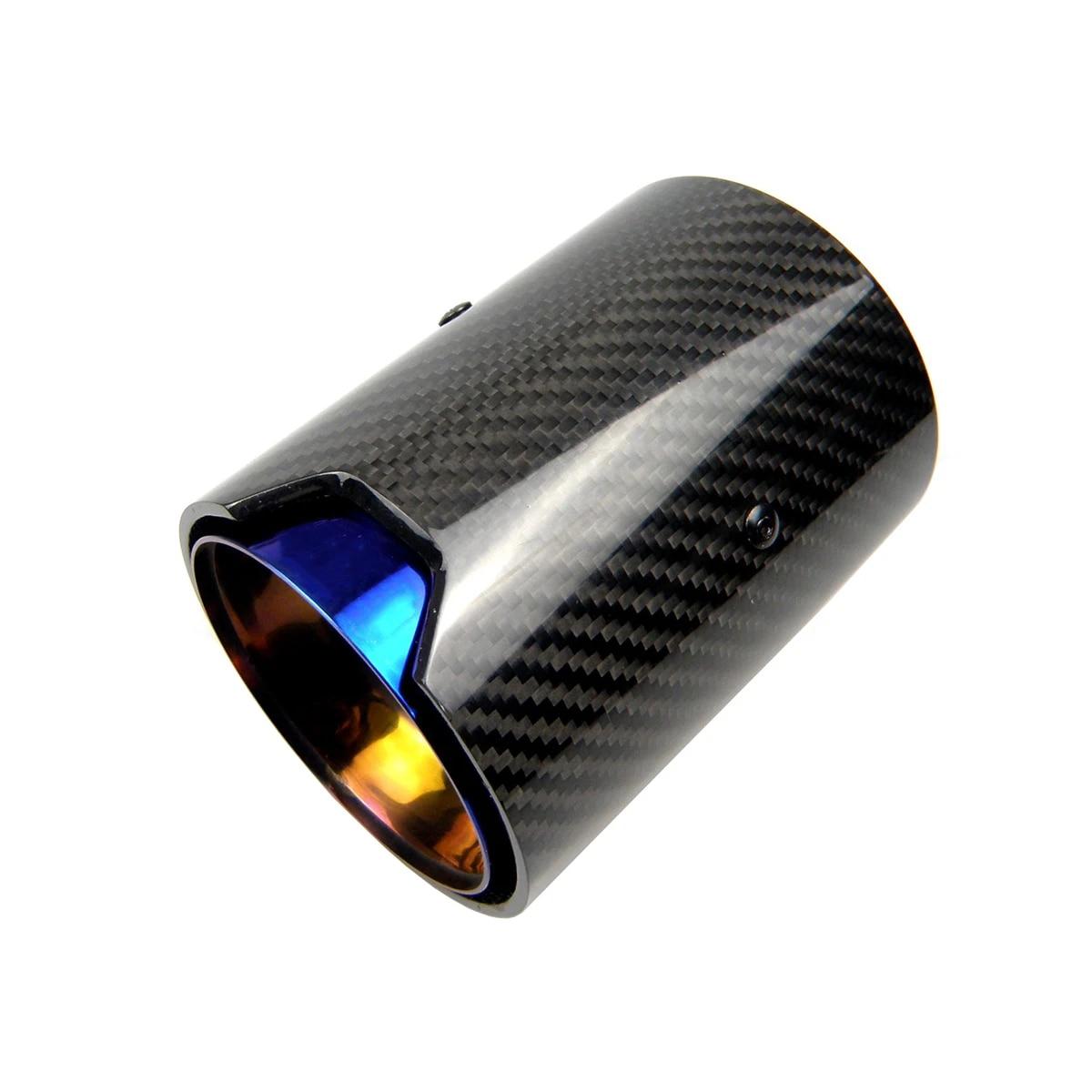 1pcs real carbon fiber blue exhaust pipe muffler tip for bmw m performance exhaust m2 f87 m3 f80 m4 f82 f83 m5 f10 m6 f12 f13