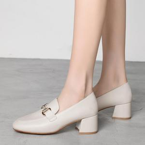 Image 1 - New Fashion Spring Autumn Women Pumps 2019 Beige Black PU Leather Shoes Office Lady Designer Fashion Casual Shoes