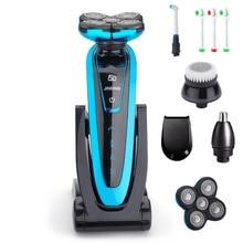 מקורי 5 להב מכונת גילוח נטענת מכונת גילוח חשמלי עמיד למים גילוח לגברים 5D זקן גילוח מכונת טיפוח ערכת 45D