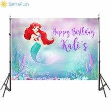 Buy Sensfun 5x3ft Cartoon Little Mermaid Fish Children Newborn Party Backdrops for Photo Studio Birthday Party Background 150x90cm directly from merchant!