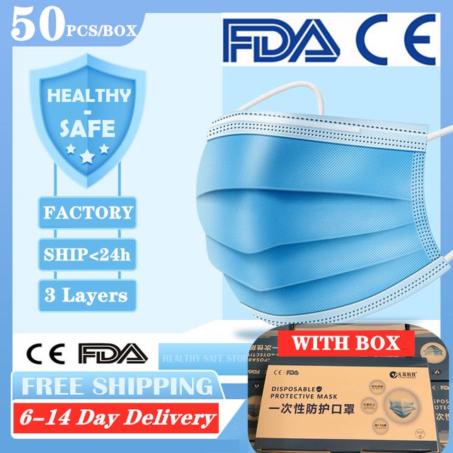 Anti-Pollution 3 Layers Mask dust protection Face Masks Disposable Dust Filter Safety Mask Proof Flu Earloop Face Masks pk n95