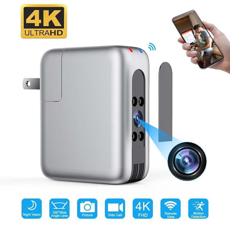 Smart Home bébé moniteur CCTV WiFi caméra prise USB chargeur 166 large objectif 4K FHD caméscope Vision nocturne enregistreur vidéo de sécurité