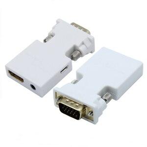 1080 p hdmi para vga conversor adaptador com áudio fêmea para macho cabos adaptador para hdtv monitor projetor pc ps4