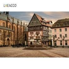 Laeacco Европейское здание квадратный фотографические фоны индивидуальные