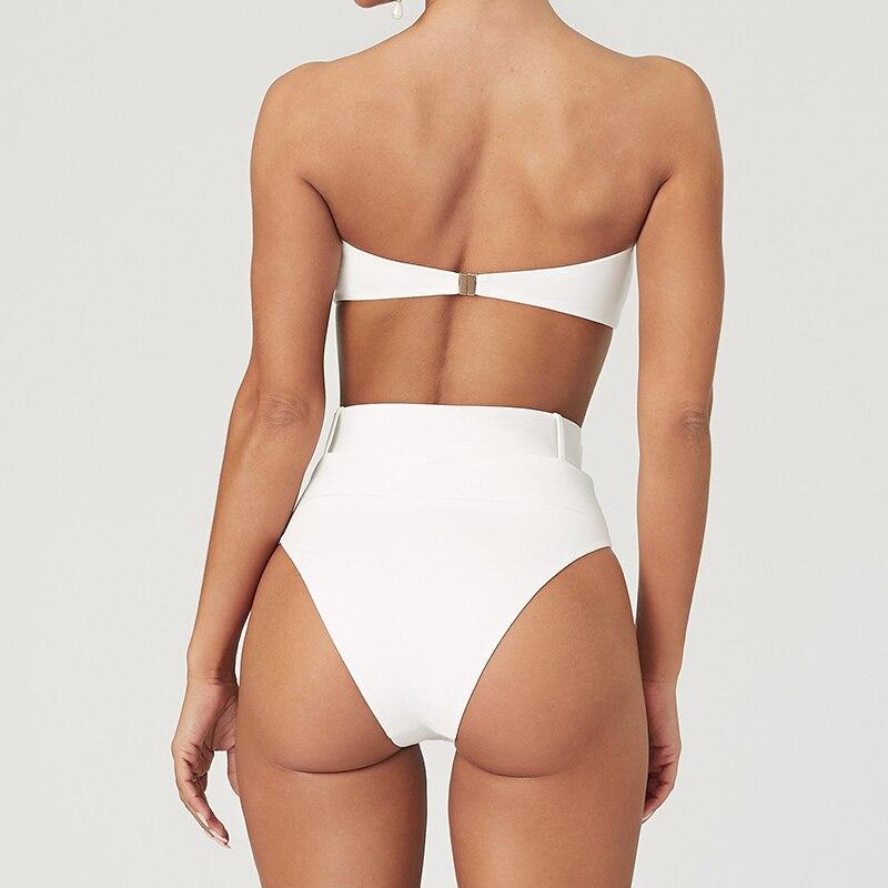 High Waist Bikini 2019 Sexy Black High Leg Bandeau Bikinis Set Swimwear Female Two Pieces Swimsuit Women Bathing Suit Biquini 3