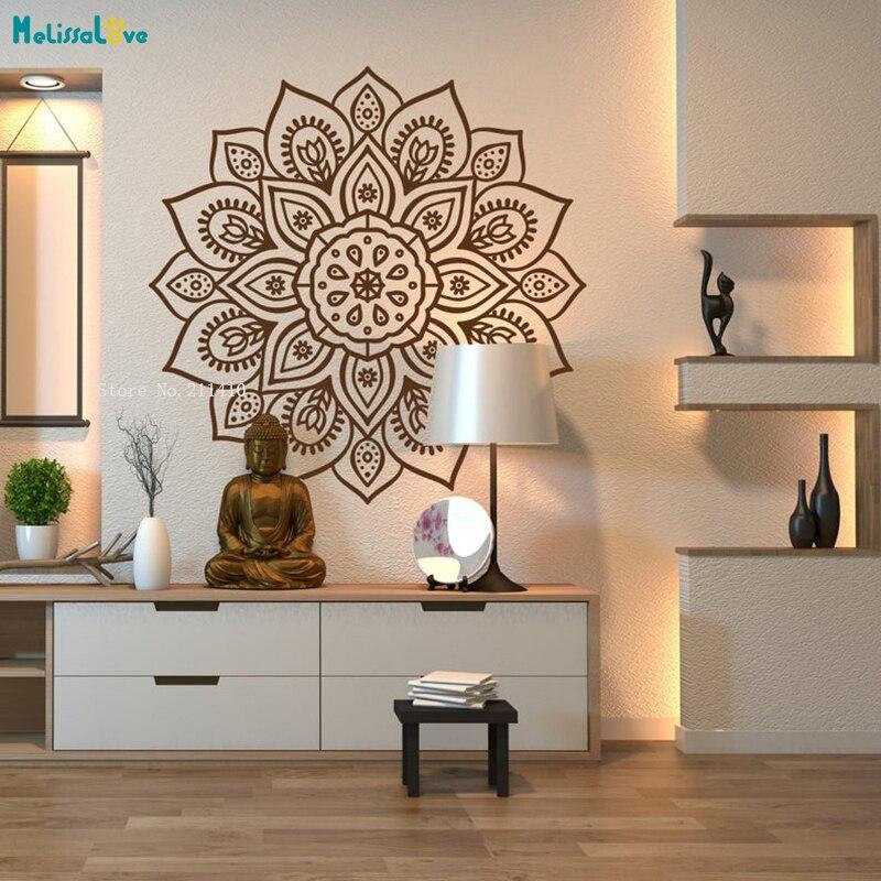 Буддийские мотивы Мандала Цветок Наклейка на стену Декор для дома Йога офис священный геометрический постер винил для медитации YT3967