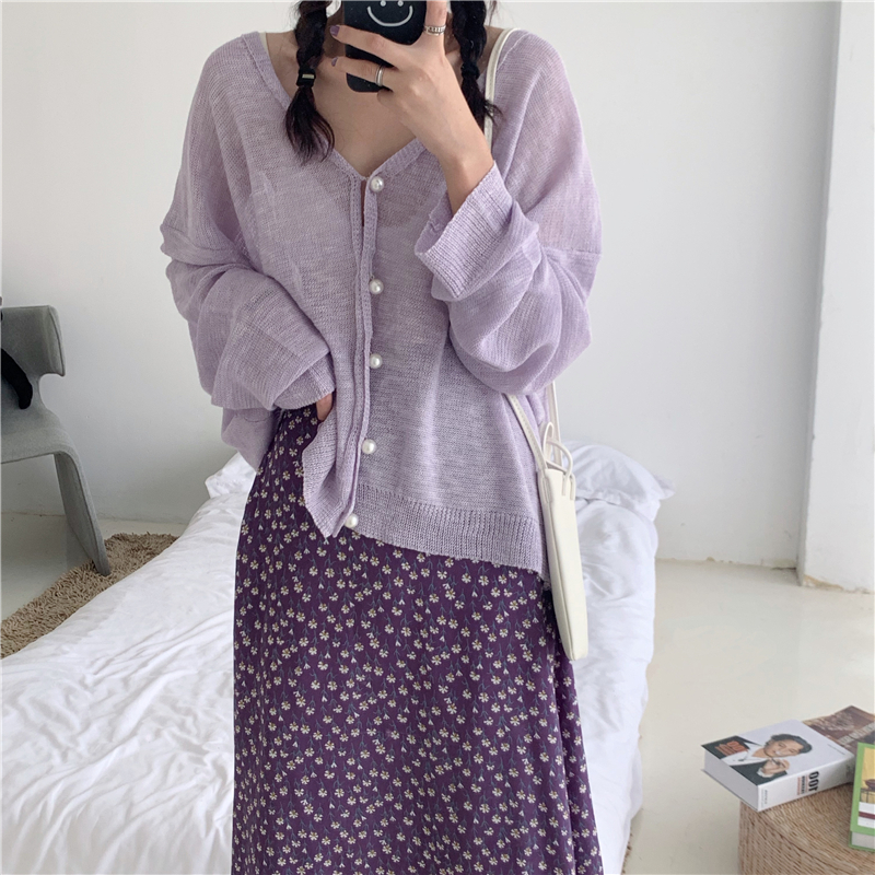 Korean Two Piece Set Womens Outfits Full Sleeve Single Breasted Knitted Sweater And High Waist Long Floral Skirt 2 Piece Set