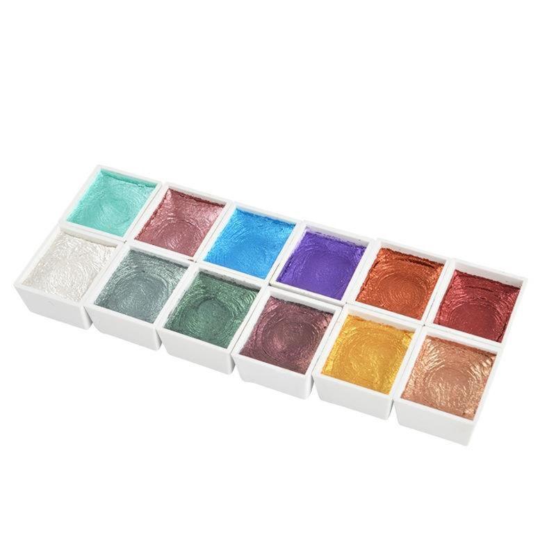 Handmade 12 Color Glitter Water Color Set Metallic Gold Aquarela Pigment Paint Artist Painting