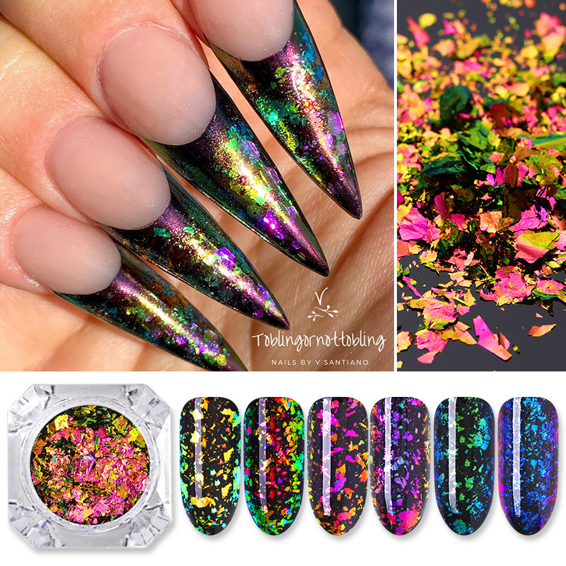 Chameleon Nail Glitter Sequins Flakes Irregular Palliette Tips Nail Pigment Powder Dust Nail Art Decorations DIY